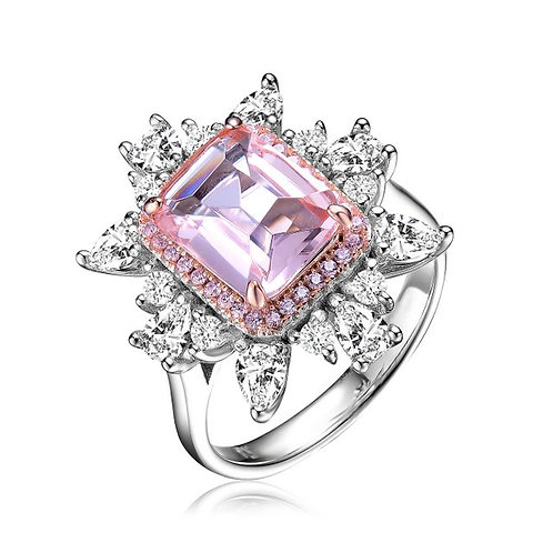 Sterling Silver / Rose Gold Plated Morganite Radiant Shape Ring TSR-R9789-M-8