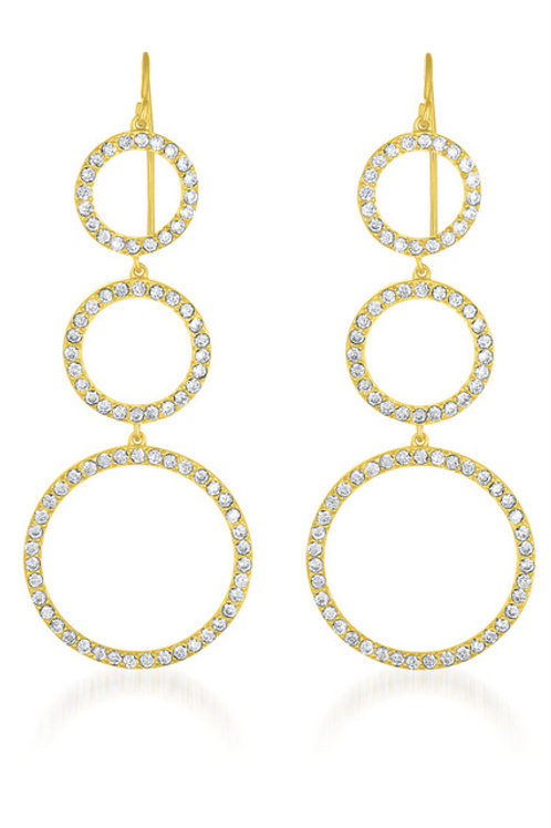 Gold Plated Sterling Silver Tri Circle Earrings TCSE-EAR1096-GP