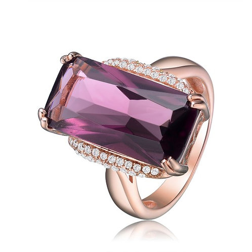 Sterling Silver / Rose Gold Plated Amethyst Colored Stone Ring TCSR-R7075-A-ROSE