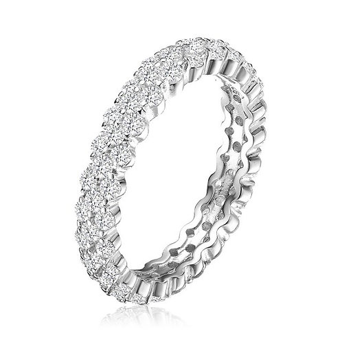 Sterling Silver with Rhodium Plated Clear Round Curved Eternity Ring TCR-R0647