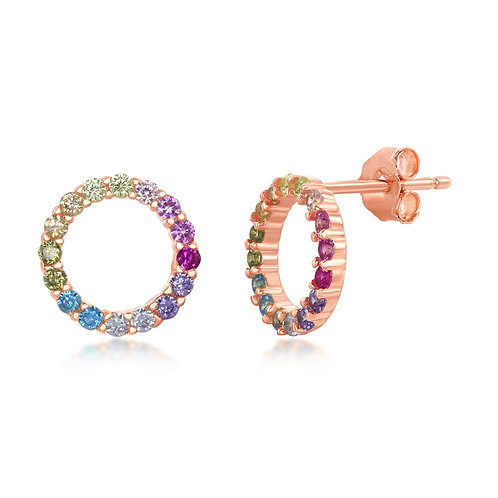 Sterling Silver Rose Gold Plated Rainbow Open Circle Stud Earring CL-D-7139-RG