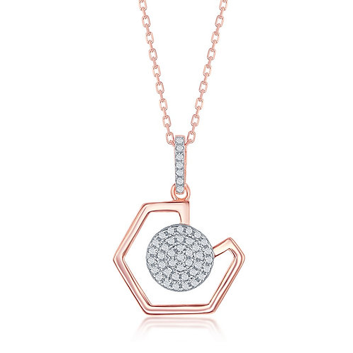Sterling Silver Geometric and Micro Pave Disc Pendant - Rose Toned CSN-K-8339