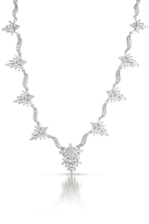 C.Z. Sterling Silver Rhodium Plated Marquise Necklace NEC344