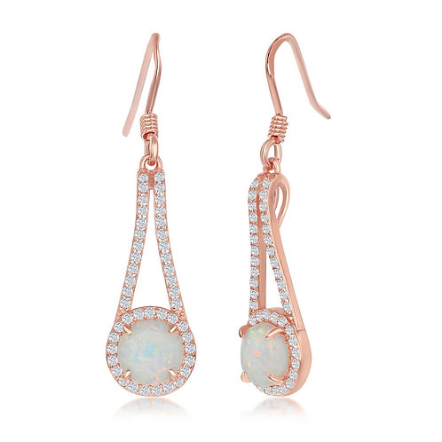 Sterling Silver Rose Gold Plated Round White Opal Drop Earrings  CE-D-7182-RG