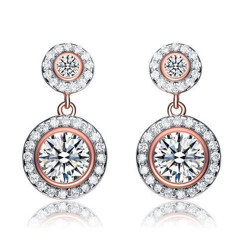 Rose Gold Overlay Two Circle Drop Earrings TCE-: EAR8613-ROSE