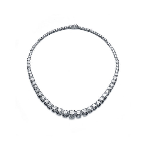 C.Z. Sterling Silver Rhodium Plated Round Graduated Necklace NEC543