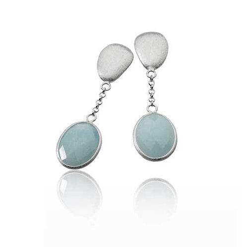 Sterling Silver Rhodium Plated Aqua Oval Gem Stone Drop Earrings GE1402-AQUA