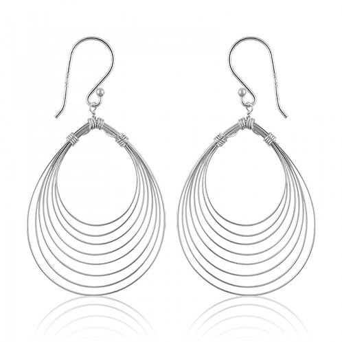 Sterling Silver Platinum Plated Graduating Teardrop Wire Earrings CL-A-2009