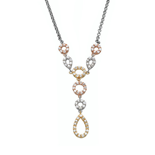 TRI-COLOR CZ NECKLACE M-3672