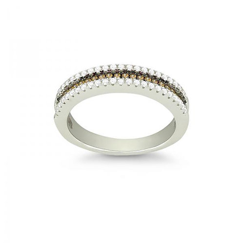 THIN CHAMPAGNE CZ MICRO PAVE RING W-9886