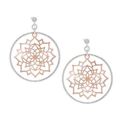 Sterling Silver / Rose GP Flower Diamond Cut Earrings CSE-A-2128