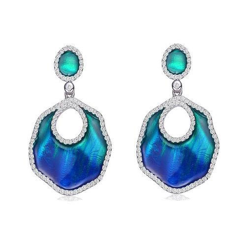 Sterling Silver with Rhodium Plated Blue-Green Enamel Earrings CSE-EAR6553-S