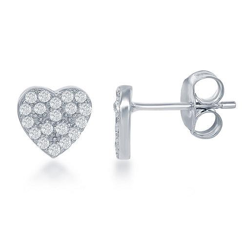 Sterling Silver Small Heart Stud Earrings CL-D-6328