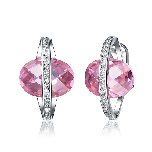 Sterling Silver Pink and Clear Cubic Zirconia Planet Earrings  EAR953