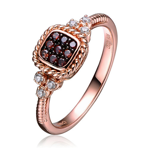 Sterling Silver Gold Toned Burgundy Stone Ring CSR-R4006