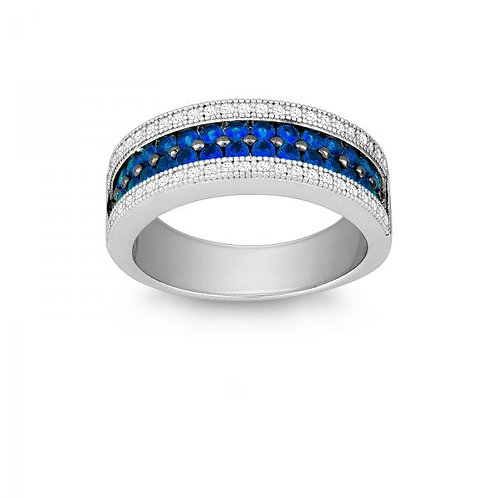 SAPPHIRE AND WHITE CZ MICRO PAVE RING W-9902