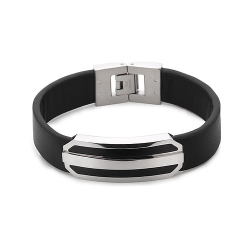 Stainless Steel Black Leather Strap with Lined Bar Center Bracelet CL-ST-1546