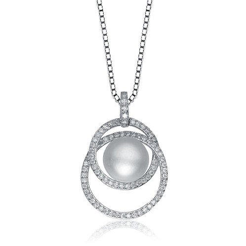 Sterling Silver Rhodium Plated Circle Design Pearl Pendant TCN-PEN5866