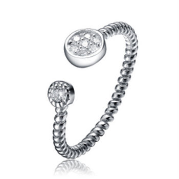 Sterling Silver Open Design Trendy Pave Cable Ring CSR-R3008