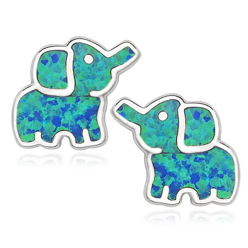 Sterling Silver Blue Inlay Opal Elephant Stud Earrings CSE-D-5744
