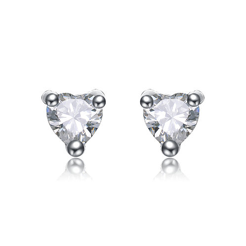 .75ctw Silver/Platinum Plated Heart Shaped Stud Earrings TCSE-EAR200-4MM