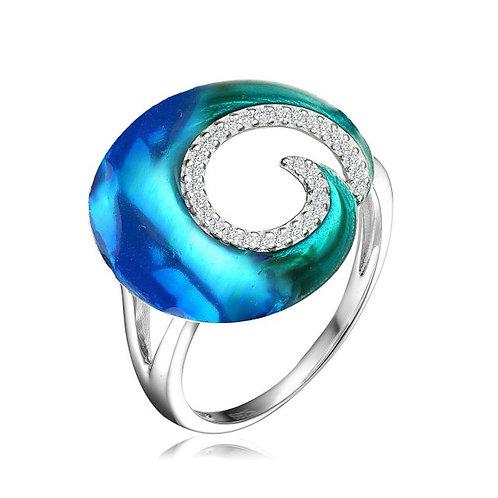 Sterling Silver Blue-Green Swirl Enamel Glass Ope Ring CSR-R6553-S