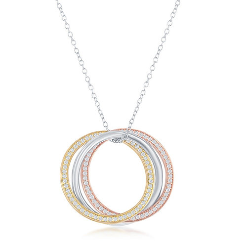 Sterling Silver Tri-Color Triple Circle Necklace CSN-M-6308