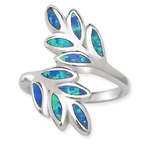 BLUE INLAY OPAL LEAF RING W-1397