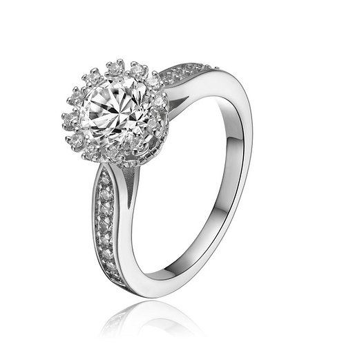 Sterling Silver Round Cut Cubic Zirconia Ring with Accents R2161