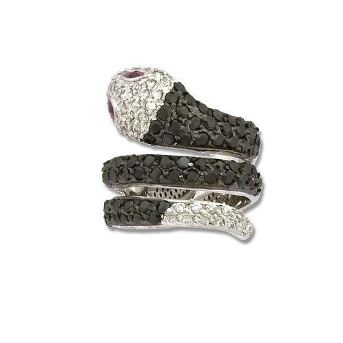 BLACK & WHITE SNAKE RING CSR-W-8626