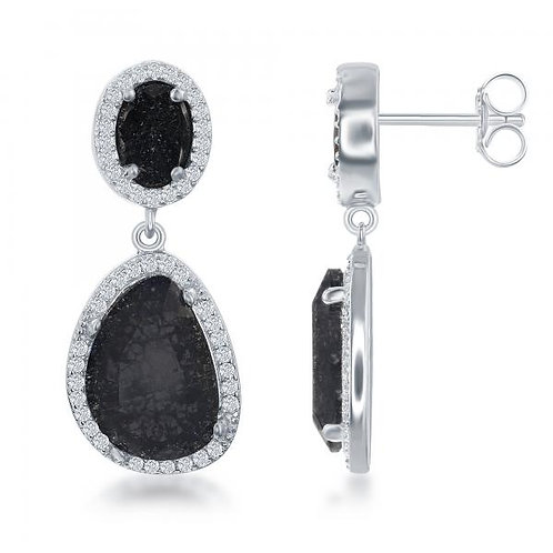 Sterling Silver Double Oval Black Ice With Halo Style Stone Earrings TCSE-D-6344