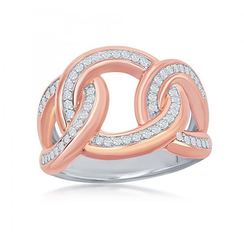 Sterling Silver Two-Tone Large Chain Link Ring CSR-W-2052