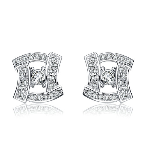 Sterling Silver Antique style pave` Stud Earrings TCE-EAR573