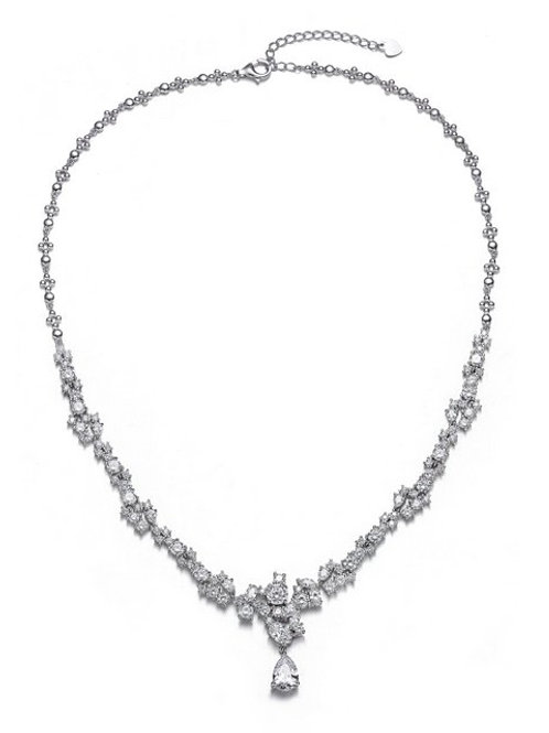 Sterling Silver/Rhodium Plated  Clear Multi Shape Cluster Necklace TN-NEC8675