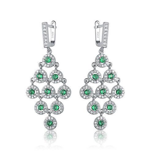 Sterling Silver Rhodium Plated Emerald Tri Shape Drop Earrings TE-EAR2653-E