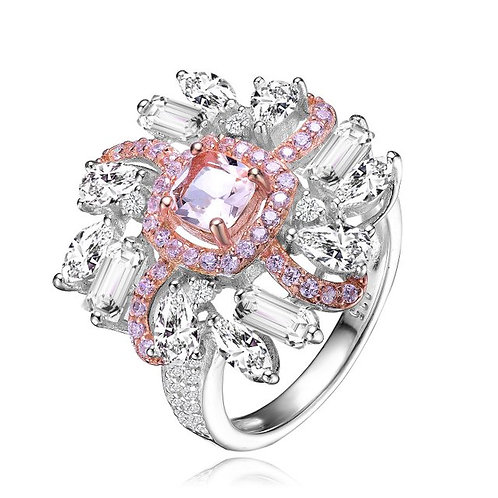 Sterling Silver Morganite/Baguett Stone Ring TSR-R9792