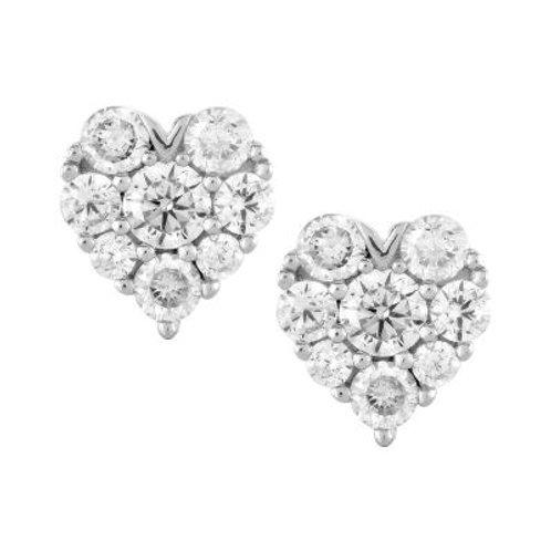 Sterling Silver Unique Heart Stud Earrings TCSE-D-5402
