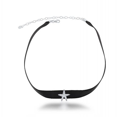 STERLING SILVER BLACK NYLON WITH CZ STARFISH CHOKER M-5564