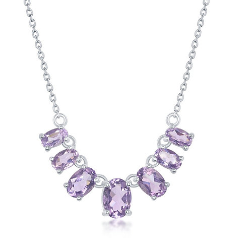 Sterling Silver Graduating Amethyst Oval Necklace TCSN-M-6306