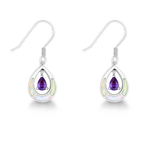 Sterling Silver White Inlay Opal Open Oval w/Purple Teardrop Earrings CL-D-5281