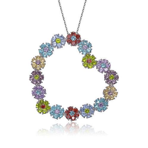 Sterling Silver Multicolored Flowers Heart Pendant CSN-PEN323