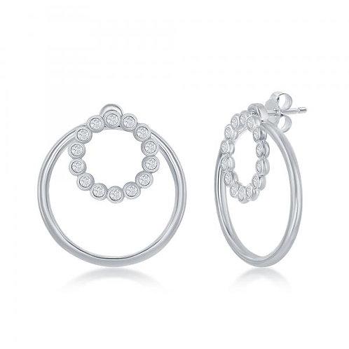 Sterling Silver Bezel-set Open Circle Earrings CSE-D-7014
