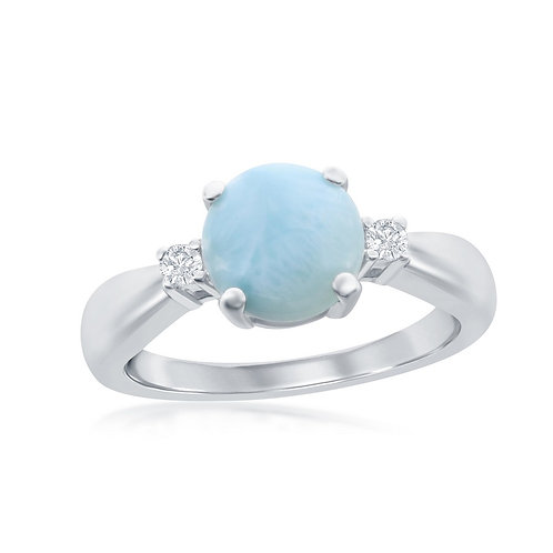 Sterling Silver Four-Prong Round Larimar with White Side Stones Ring CL-W-2066
