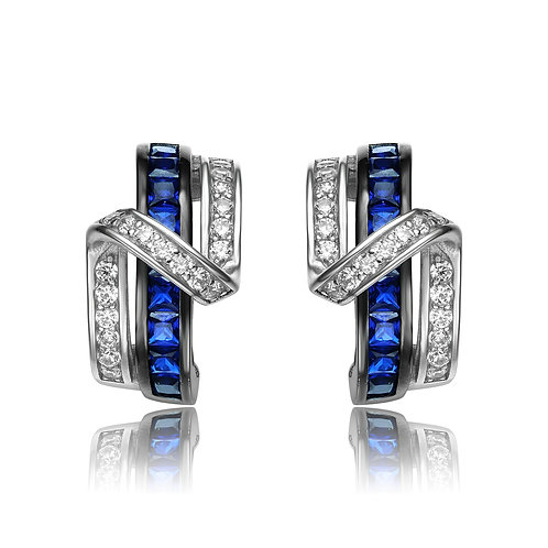 Sterling/Platinum plated Sapphire and white Stone Earrings TCE-EAR119-S