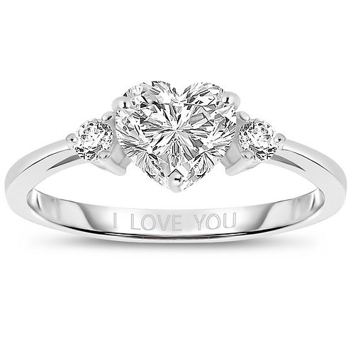 Sterling Silver Cubic Zirconia Heart 'I Love You' Ring R406
