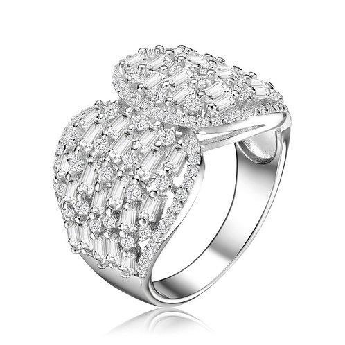 Sterling Silver/ Platinum Plated Baguette Cluster Ring TCSR-R9836