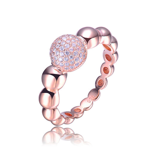 Sterling Silver Rose Gold Cubic Zirconia Bubble Statement Ring R9101-ROSE