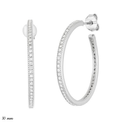 Sterling Silver Thin 25mm Hoop Earrings CL-D-5951