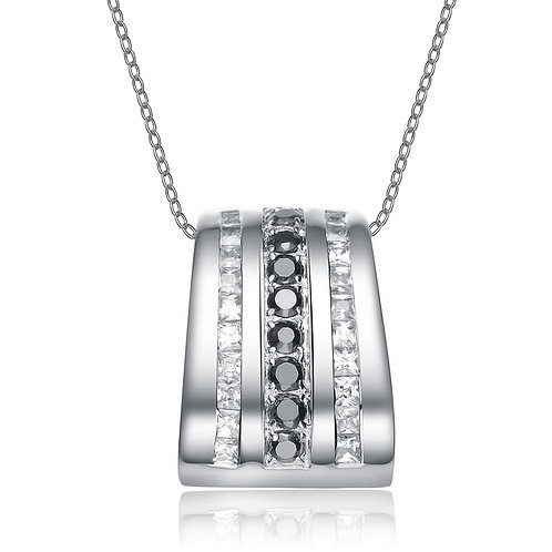 Sterling Silver White and Black Cubic Zirconia Pendant SL205-BLACK