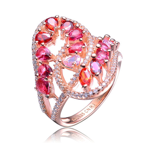 Rose Gold Plated Ruby Style Stone Ring CSR-R9982-R-ROSE